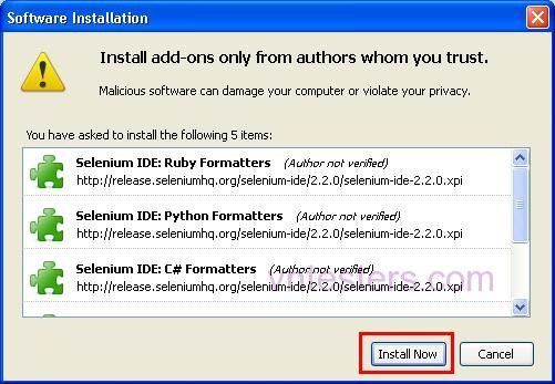 Selenium IDE Install